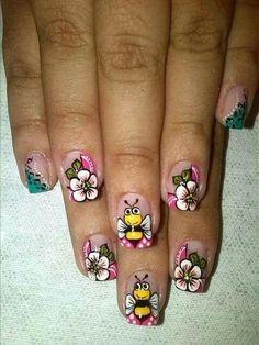uñas decoradas de animales French Nails, Nails For Kids, Galaxy Nails, Painted Nail Art, Bridal Nails, Toe Nails, Beauty Nails, Summer Nails, Pedicure