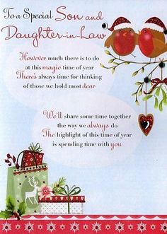 GBP - Son & Daughter-In-Law Christmas Greeting Card Traditional Cards Lovely Verse & Garden Christmas Card Verses, Christmas Sentiments, Merry Christmas Card, Christmas Quotes, Christmas Greeting Cards, Card Sentiments, Christmas Scenes, Christmas Pictures, Christmas 2019