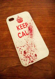 Bloody Zombie Keep Calm Blood Splatter iPhone 4/4S and iPhone 5 models Case. $13.99, via Etsy.