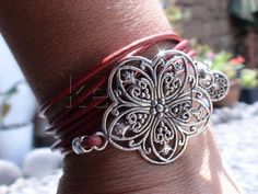 multi wrap 6 times red leather bracelet with silver by kekugi, $23.00