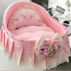 Baby Doll Bed, Baby Nest Bed, Baby Girl Bedding, Baby Bedding Sets, Baby Cribs, Baby Dolls, Baby Clothes Patterns, Cute Baby Clothes, Baby Knitting