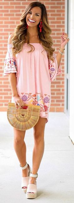 #spring #outfits pastel pink dress, platforms
