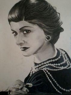 Coco Chanel,F2 Fabriano ruvido solo carboncino grasso
