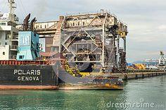 Cargo wharf in Genoa port. Italy