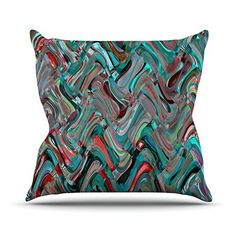 KESS InHouse SC2050AOP03 18 x 18-Inch 'Suzanne Carter Wave Teal Abstract' Outdoor Throw Cushion - Multi-Colour >>> Be sure to check out this awesome product. (This is an affiliate link) #GardenFurnitureandAccessories