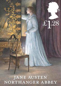 """Selo comemorativo dos 200 anos de """"Orgulho e preconceito"""" de Jane Austen. São 6 modelos, um para cada romance da escritora. Este é o selo do livro """"A abadia de Northanger""""."""
