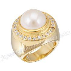 Material: Acero Inoxidable   Nombre:Anillo oro de compromiso de acero con diamantee y pierla   Model No.:SSRG117   Peso:37.6G