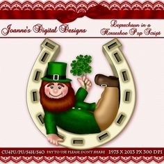 Leprechaun in a Horseshoe PspScript $6.00 - 65% off all this month! :) Also available as a Photoshop layered template Check out my new $50 Unlimited Useage License too! http://www.joannes-digital-designs.com/leprechaun-in-a-horseshoe-pspscript-p-2423.html