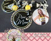 POM MOM Necklace- Triple Pendant-Fully Customizable Team Name, Colors with Photo Pendant, Cheerleader Charm, Dance, Cheer, Poms Mom