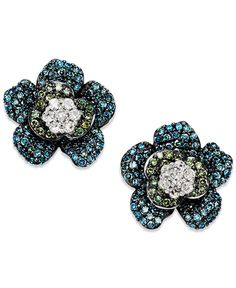 Blue and Green Diamond (1 ct. t.w.) Flower Earrings in 14K White Gold