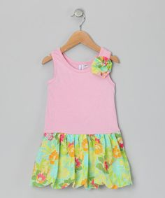 Pink & Teal Bubble Liza Dress - Toddler & Girls by Blueberry Twirl on #zulily today! Tank top with skirt & flower