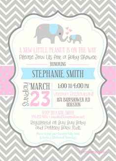 new little peanut elephant gender neutral baby shower invitation custom colors digital