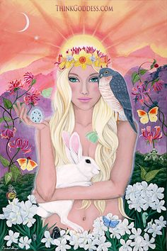 Ostara, is the Goddess of Spring and the Dawn is celebrated on March 21st/22nd / Spring Equinox. Her presence was felt in the flowering of plants and the birth of babies, both animal and human. The rabbit (well known for its propensity for rapid reproduction) was her sacred animal. Gift idea for Children, Teens, Baby Showers, Midwives, Fertility, Healers and New Beginnings. By Artist Nichol Skaggs