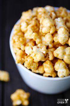Homemade Caramel Corn | gimmesomeoven.com (added 1/8 tsp cream of tartar, decreased salt to 1/2 tsp and lowered bake temp to 250)