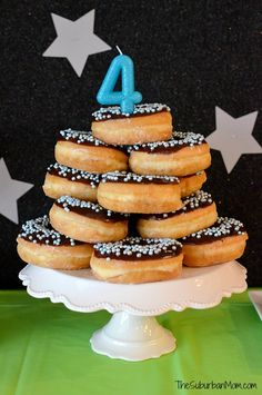 Homemade Donut Cake Need an out of this world space birthday party idea, these Miles From Tomorrowland Birthday Party ideas are blastastic! Police Birthday Cakes, Police Cakes, Toddler Birthday Cakes, Donut Birthday Parties, Birthday Desserts, Birthday Ideas, 4th Birthday, Unicorn Birthday, Homemade Muffins