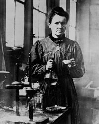 "Marie Curie in her lab, 1910: Curie discovered that Thorium & Uranium emit the same rays, labelling them ""radioactive"". She proved that Uranium & Thorium rays were a property of the atoms of a radioactive element, a revolutionary discovery. ­She & her husband reduced huge quantities of pitchblende, after Marie found it produced more radioactivity than Uranium, & isolated 2 new elements: Polonium (named for Marie's homeland of Poland) & radium (Latin for ray).Curie won 2 Nobel Prizes for her…"