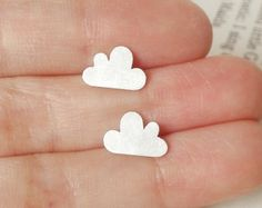 lucky happy cloud earring studs in sterling silver (size small), handmade in beautiful Cornwall, UK. £20.00, via Etsy.