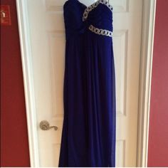 Blonde nites prom dress Dark blue with silver around boob! Excellent condition. very beautiful dress Blondie nites Dresses Maxi