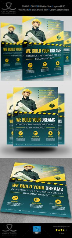 Construction Business Flyer Template PSD. Download here: http://graphicriver.net/item/construction-business-flyer-vol4/16686020?ref=ksioks