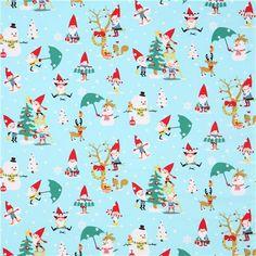 light blue Christmas fabric gnomes snowman Michael Miller