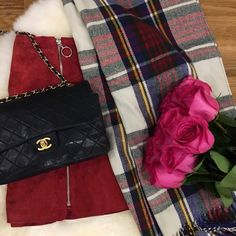 pink-roses-plaid-scarf-black-chanel-bag http://styledamerican.com/american-favorites-lately/