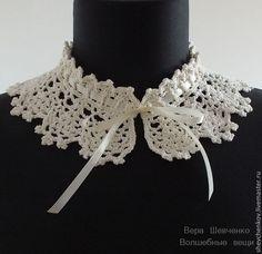 Воротничок на ленте Crochet Collar, Tiaras, Crochet Necklace, Gloves, Lace, Yarns
