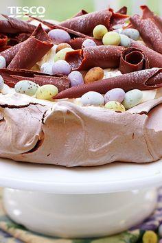 Meringue Desserts, Chocolate Meringue, Easter Chocolate, Baking Recipes, Dessert Recipes, Tesco Real Food, Mini Eggs, Chocolate Shavings, Delicious Chocolate