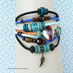 bracelet ethnique chic  perles en verre de par loiseauseraphine