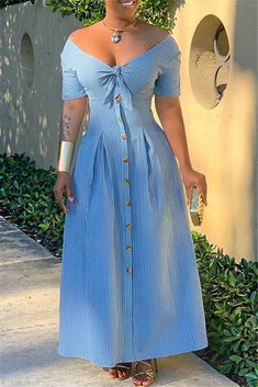 V-Neck Button Ankle-Length Stripe High Waist Dress Plus Size Maxi Dresses, Plus Size Outfits, Blue Dresses, Casual Dresses, Cheap Dresses, Dress Outfits, Fashion Dresses, Western Dresses, Boho Dress