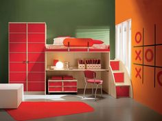 Bedroom, Glamorous Superb Boys Room Laminate Wooden Single Bed Also Study Table And Decorations Bedroom Red Rugs On White Ceramic Tiles Installation Custom Built In Storage Drawers Cabinet With Unique Chair Small Space Spectacular Room Decoration Ideas: Awesome Small Kids Room Ideas For Your Lovely Children