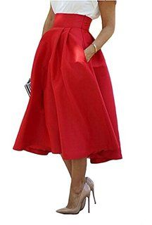 Amazon.com : Womens Magnificent Pleated Taffeta Midi Skirt New ...