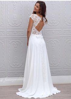 A-Line Bateau Sweep Train Open Back Chiffon Lace simple cheap Wedding Dress , WD. Wedding Dress Trends, Modest Wedding Dresses, Cheap Wedding Dress, Boho Wedding Dress, Designer Wedding Dresses, Bridal Dresses, Wedding Gowns, Lace Wedding, Event Dresses
