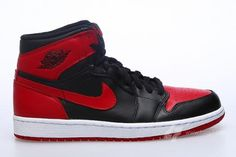 NIKE AIR JORDAN 1 RETRO HIGH OG BLACK/VARSITY RED-WHITE #sneaker