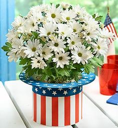 "Nothing says ""Happy 4th of July"" better than our Uncle Sam hat full of daisies! It is the perfect July 4th decoration!"