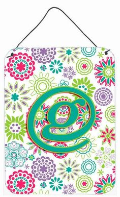 Letter G Flowers Pink Teal Green Initial Wall or Door Hanging Prints CJ2011-GDS1216