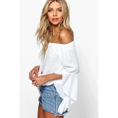Boohoo Maya Fluted Frill Sleeve Off The Shoulder Top ($26) ❤ liked on Polyvore featuring tops, white, off the shoulder long sleeve top, off shoulder long sleeve top, white off the shoulder top, long sleeve tops and jersey crop top