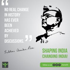 Work hard and never stop. Be inspired, stay inspired by one of the greatest hero of our nation. Lets celebrate the spirit of youth with Netaji Subhash Chandra Bose on his birthday. Mahatma Gandhi Photos, Indian Freedom Fighters, Subhas Chandra Bose, Hindu Tattoos, Patriotic Quotes, Best Hero, Republic Day, Birthday Photos, Hindi Quotes
