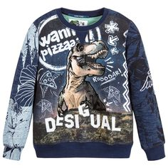 Desigual - Boys Blue Dinosaur Sweatshirt | Childrensalon