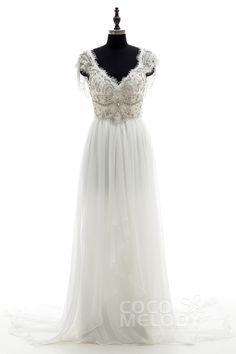Fantastic Sheath-Column V-neck Natural Chapel Train Chiffon Ivory Sleeveless Open Back Wedding Dress Beading Draped LD3734 #cocomelody #wedding #dresses