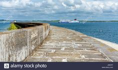 Download this stock image: The Stenaline ferry passing the Holyhead breakwater before heading for Ireland. - J9EKFF from Alamy's library of millions of high resolution stock photos, illustrations and vectors.
