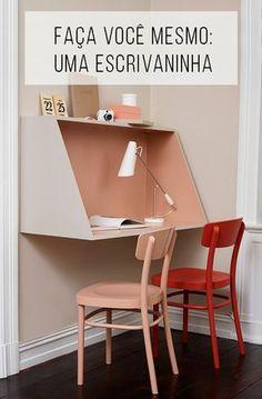 Faça você mesma uma escrivaninha para estudar e/ou trabalhar! // palavras-chave: faça você mesmo, DIY, tutorial, projeto, escrivaninha, mesa de trabalho, espaço pequeno, mesa moderna, escrivaninha moderna, rosa, rosa pastel, rosa queimado, trabalho, estudo, home office, madeira, MDF, pallet.