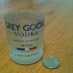 Grey Goose shot glass made out of an empty liquor bottle in Little Rock, AR. Liquor Glasses, Shot Glasses, Empty Liquor Bottles, Grey Goose, Beverages, Drinks, Drinking Games, Making Out, Liquor Cabinet