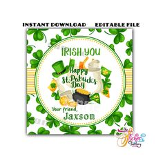 Excited to share this item from my #etsy shop: INSTANT DOWNLOAD-EDITABLE File - Happy St Patrick's Day Theme Rectangle Tag- You Print -St Patrick's Gift tag Printable Tags, Printables, Happy St Patricks Day, Letter Size, Printing Services, Are You Happy, Gift Tags, At Least
