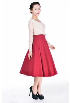 Plus Womens Pinup Lovely Office Lady Red High Waist Swing Full Circle Skirt