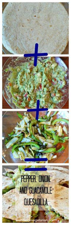 Pepper, Onion, and Guacamole Quesadilla: Spicy, Creamy, and Vegan | https://worldwidevegetarian.com/2014/07/pepper-onion-and-guacamole-quesadilla-spicy-creamy-and-vegan/
