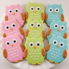 Ahhhhh cute~ // Owl Sugar Cookie Favors 12 favors bagged and bowed by TSCookies, Cookies Owl Sugar Cookies, Galletas Cookies, Cute Cookies, Cupcake Cookies, Birthday Cookies, Valentine Cookies, Yummy Cookies, Baby Cookies, Flower Cookies