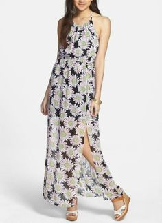 Festival style - Floral print maxi dress. Will be cute with sneakers or sandals.