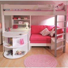 While the color makes the primary statement here, what we're really sold on is the amazing functionality of the lofted bunk bed/couch/desk/storage area.  Source: Instagram user true_fashionista14