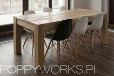 Mesa de comedor roble sólido. Hecho a mano. Diseño por Poppyworkspl