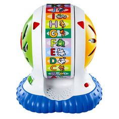 My son went to physical therapy (for a flat head) and the therapist recommended this toy. We bought it, he loved it. My daughter now loves it, too. Very engaging. Hard to find but a good toy for your arsenal. We don't have many toys but this is one of them.  LeapFrog Spin & Sing Alphabet Zoo   $19.97
